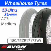 180/55ZR17 (73W) AC3 Medium 3D Ultra Xtreme Avon TL Rear
