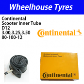 Continental Tubes D12 Scooter 3.00, 3.25, 3.50, 80/100-12 Straight Metal