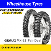 Dunlop Soft-Med Geomax MX33 Motorcycle Tyre Pair Deal